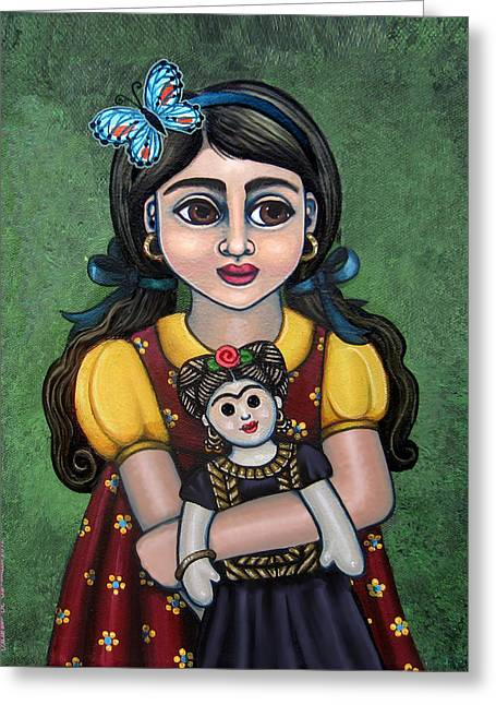 Holding Frida With Butterfly Greeting Card by Victoria De Almeida