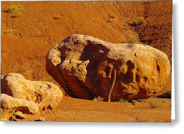 Holding The Boulder In Greeting Card