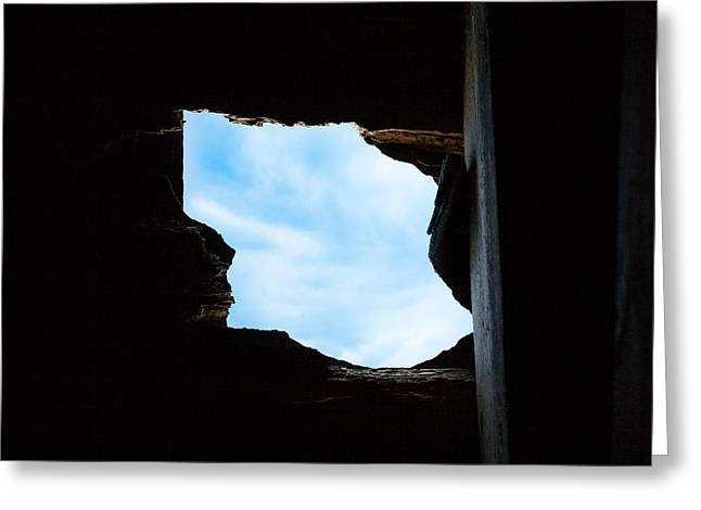 Greeting Card featuring the photograph Hole In The Roof  by Gary Heller