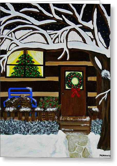 Holiday Cabin Greeting Card by Celeste Manning