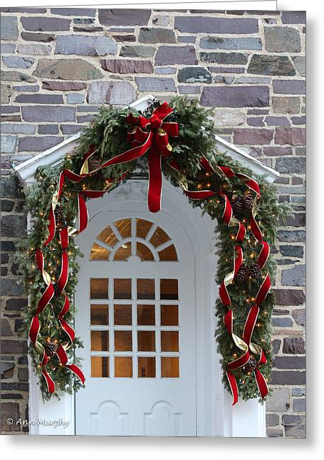 Greeting Card featuring the photograph Holiday Door Wreath by Ann Murphy