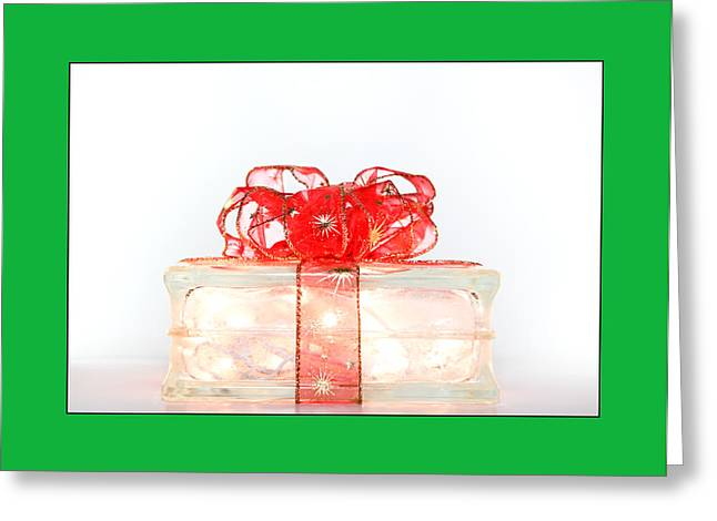 Holiday Glass Gift Box With Red Bow Greeting Card by Jo Ann Tomaselli