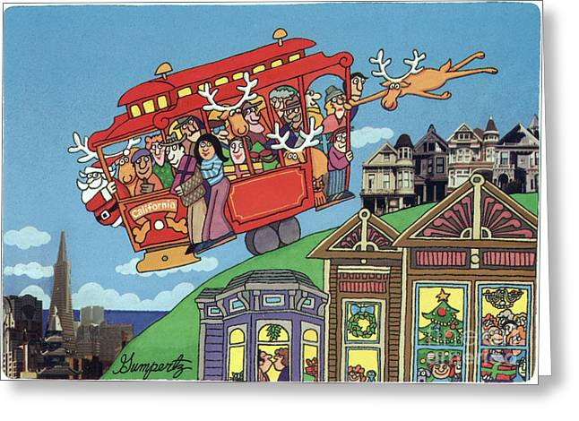 Holiday Greetings From San Francisco Greeting Card by Robert Gumpertz