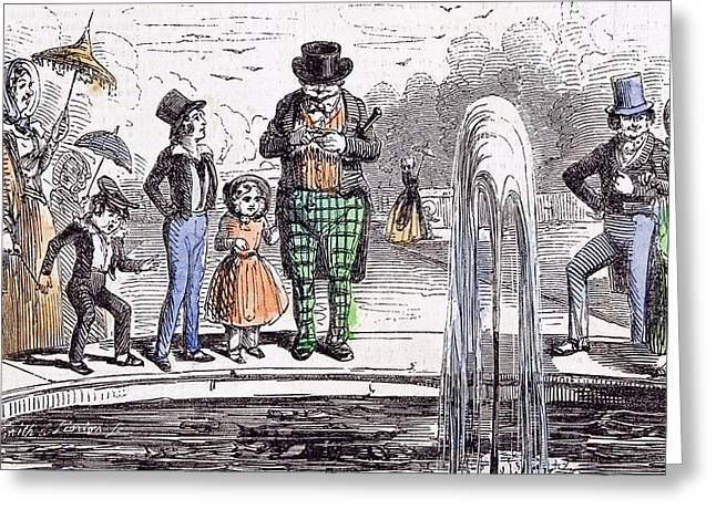 Holiday Group In Hampton Court Gardens London 1843 Holiday Greeting Card