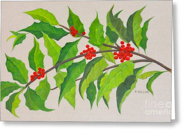 Holiday Holly Greeting Card by Frances  Dillon