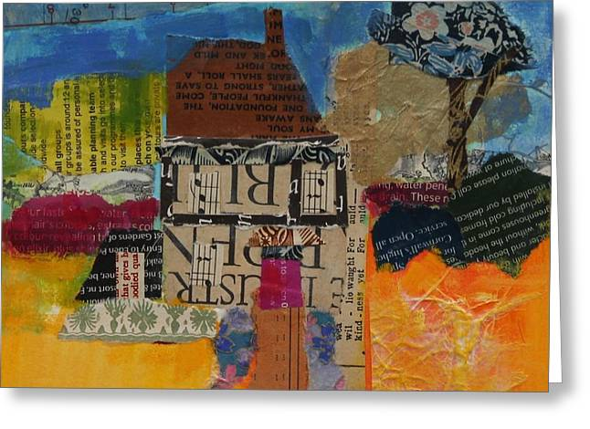 Holiday Home 2013, Acrylicpaper Collage Greeting Card by Sylvia Paul