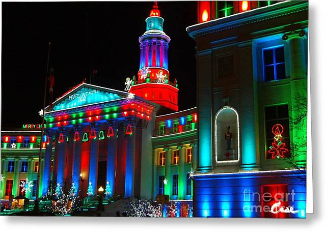Holiday Lights 2012 Denver City And County Building A3 Greeting Card by Feile Case