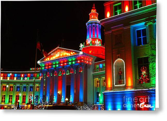 Holiday Lights 2012 Denver City And County Building B1 Greeting Card by Feile Case