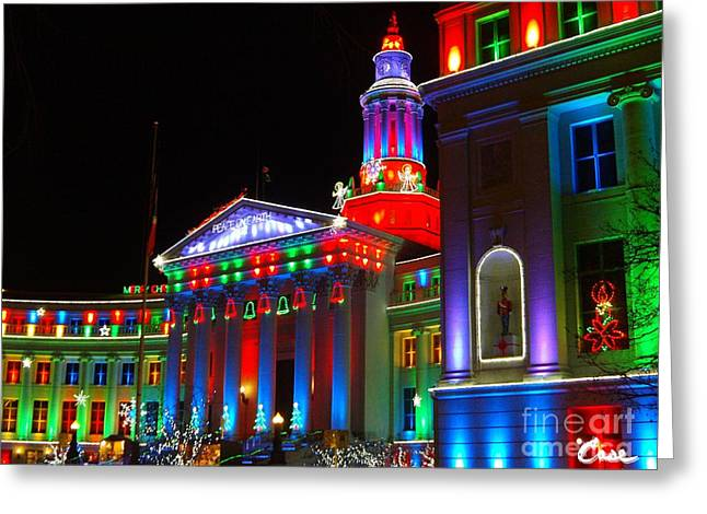 Holiday Lights 2012 Denver City And County Building B3 Greeting Card by Feile Case