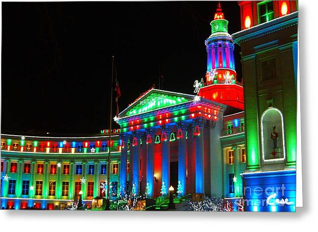 Holiday Lights 2012 Denver City And County Building C1 Greeting Card by Feile Case
