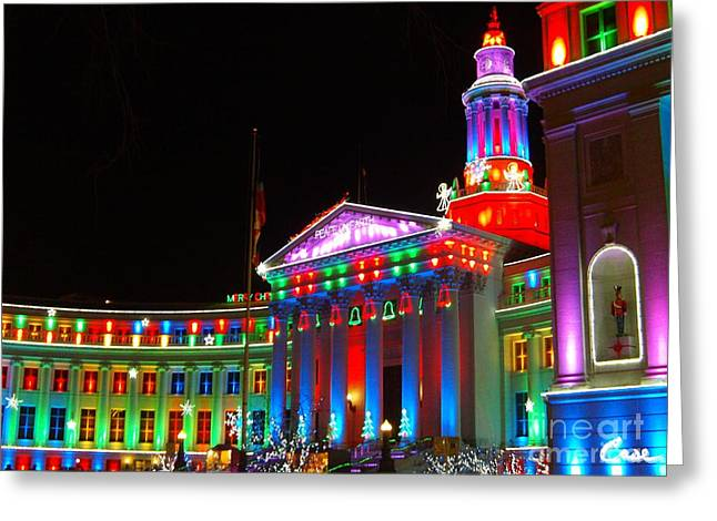 Holiday Lights 2012 Denver City And County Building C2 Greeting Card by Feile Case