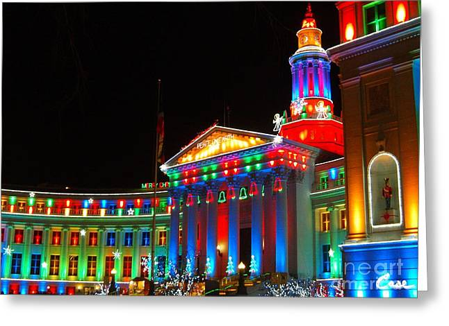 Holiday Lights 2012 Denver City And County Building C3 Greeting Card by Feile Case