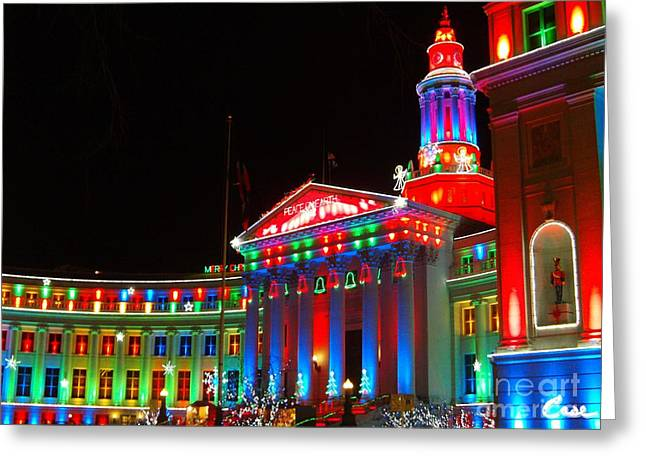 Holiday Lights 2012 Denver City And County Building C4 Greeting Card by Feile Case