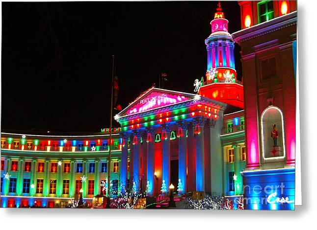 Holiday Lights 2012 Denver City And County Building C6 Greeting Card by Feile Case