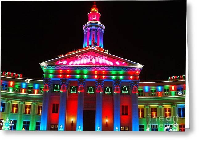 Holiday Lights 2012 Denver City And County Building  D1 Greeting Card by Feile Case