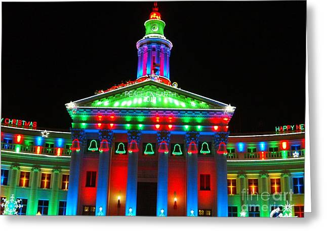 Holiday Lights 2012 Denver City And County Building D2 Greeting Card by Feile Case