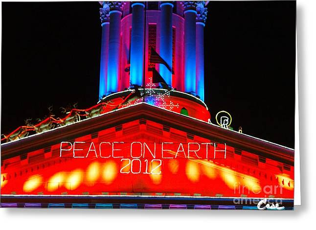 Holiday Lights 2012 Denver City And County Building E1 Greeting Card by Feile Case