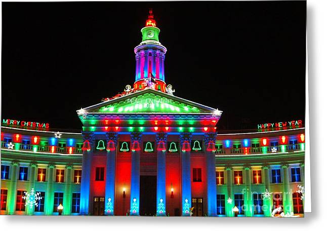Holiday Lights 2012 Denver City And County Building G1 Greeting Card by Feile Case