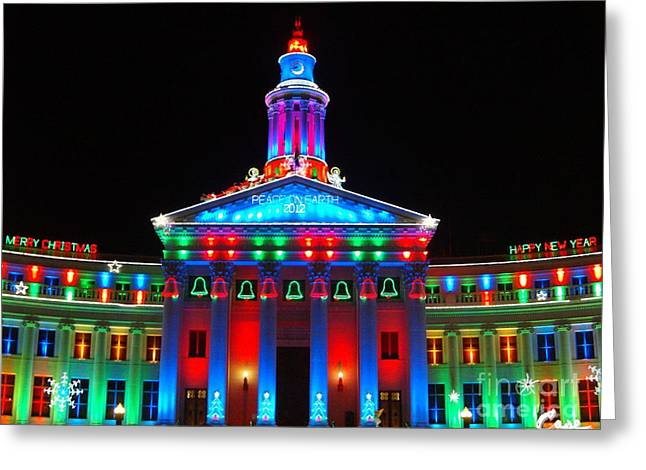 Holiday Lights 2012 Denver City And County Building G2 Greeting Card by Feile Case