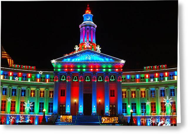 Holiday Lights 2012 Denver City And County Building G6 Greeting Card by Feile Case