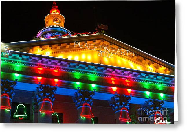 Holiday Lights 2012 Denver City And County Building L2 102 Greeting Card by Feile Case