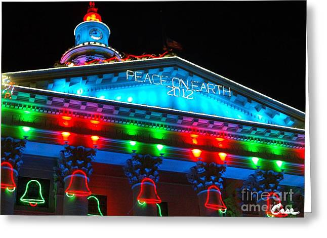 Holiday Lights 2012 Denver City And County Building L3 Greeting Card by Feile Case