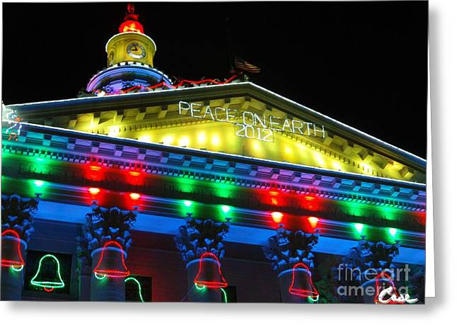 Holiday Lights 2012 Denver City And County Building L5 Greeting Card by Feile Case