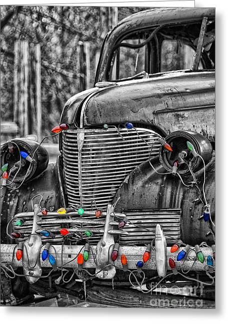Holiday Lights On Old Truck Greeting Card by Birgit Tyrrell