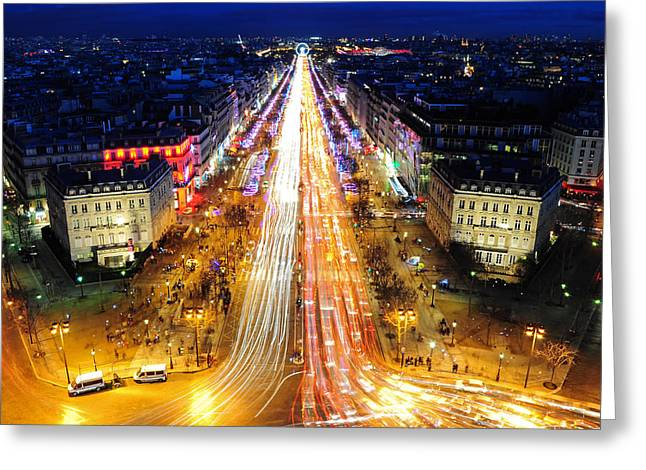 Holiday Lights On The Champs-elysees Greeting Card