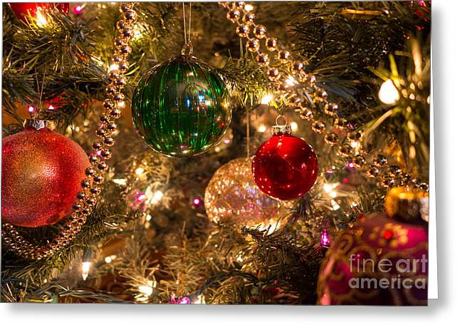 Holiday Ornaments On A Christmas Tree Greeting Card