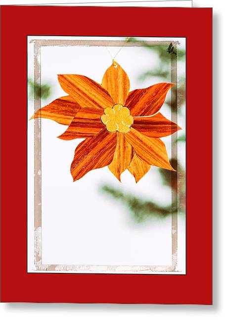 Holiday Pointsettia Art Ornament In Red Greeting Card