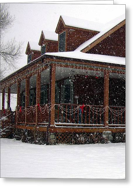 Holiday Porch Greeting Card by Claudia Goodell