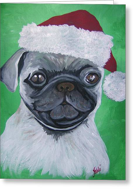 Holiday Pug Greeting Card by Leslie Manley
