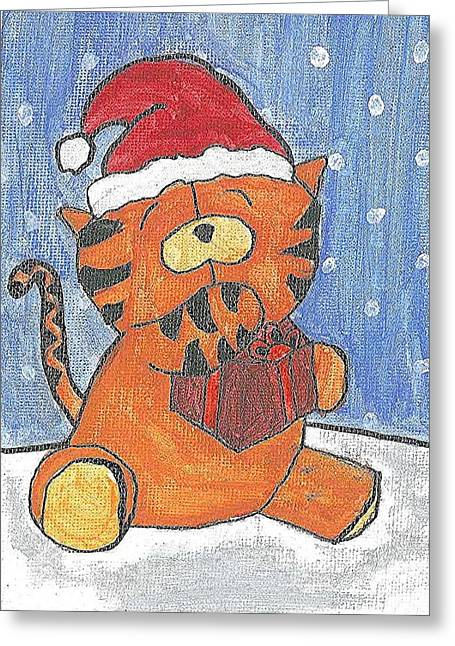 Greeting Card featuring the painting Holiday Tiger by Fred Hanna