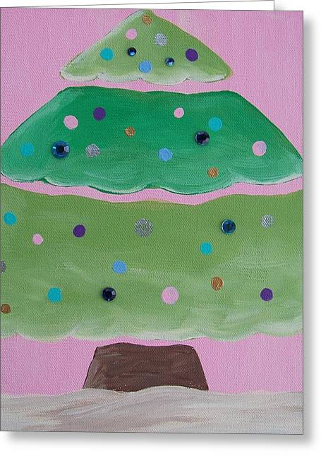 Holiday Tree With Pink Greeting Card by Tracie Davis
