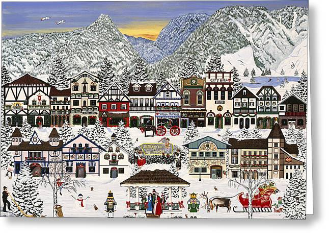 Holiday Village Greeting Card by Jennifer Lake