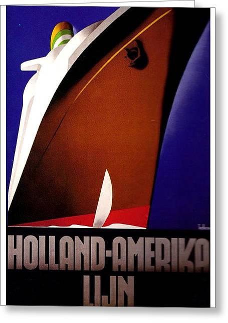 Holland Amerika Lijn Travel Advertising Poster Greeting Card