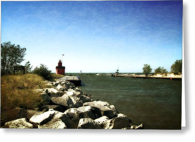 Holland Channel And Big Red Greeting Card by Michelle Calkins