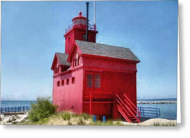 Holland Harbor And Big Red Greeting Card