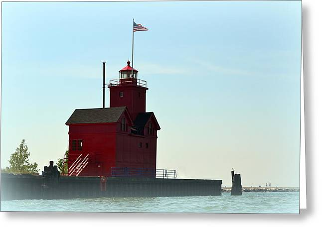 Holland Harbor Light Vignette Greeting Card by Michelle Calkins
