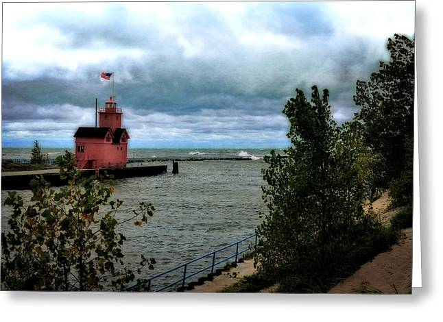 Holland Harbor Light With Big Winds Greeting Card by Michelle Calkins