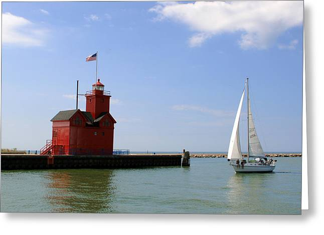 Holland Harbor Lighthouse With Sailboat Greeting Card by George Jones
