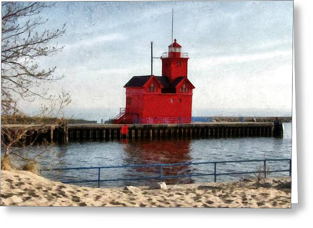 Holland Michigan Channel And Lighthouse Greeting Card