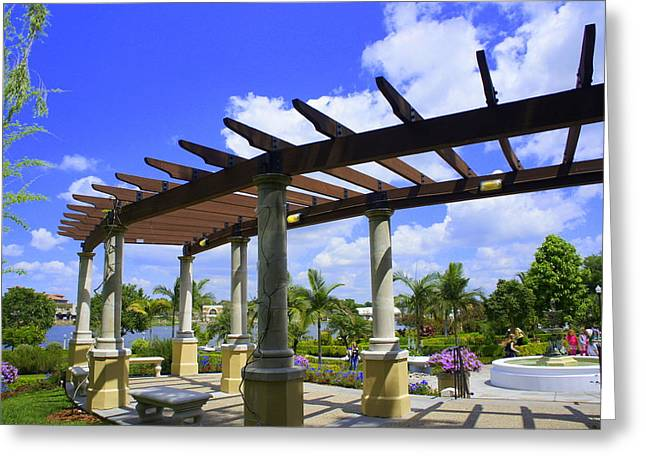 Hollis Pergola Greeting Card by Laurie Perry