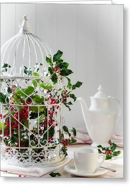 Holly And Berries Birdcage Greeting Card by Amanda Elwell