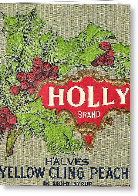 Holly Brand Yellow Cling Peaches Greeting Card by Studio Art