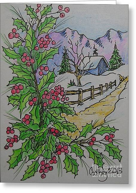 Holly Path Greeting Card