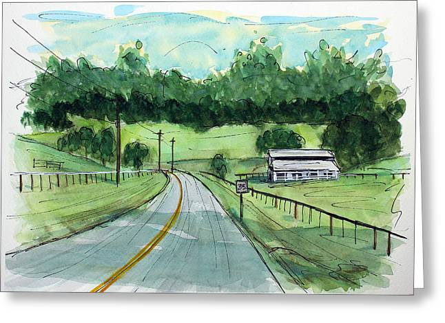Holly Tree Gap Road Greeting Card by Tim Ross