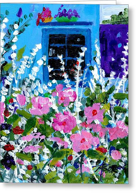 Hollyhock Alley  Greeting Card