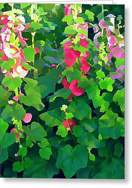 Hollyhocks By The Sea Greeting Card by Anne Sterling